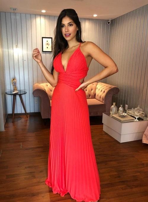 vestido longo coral plissado