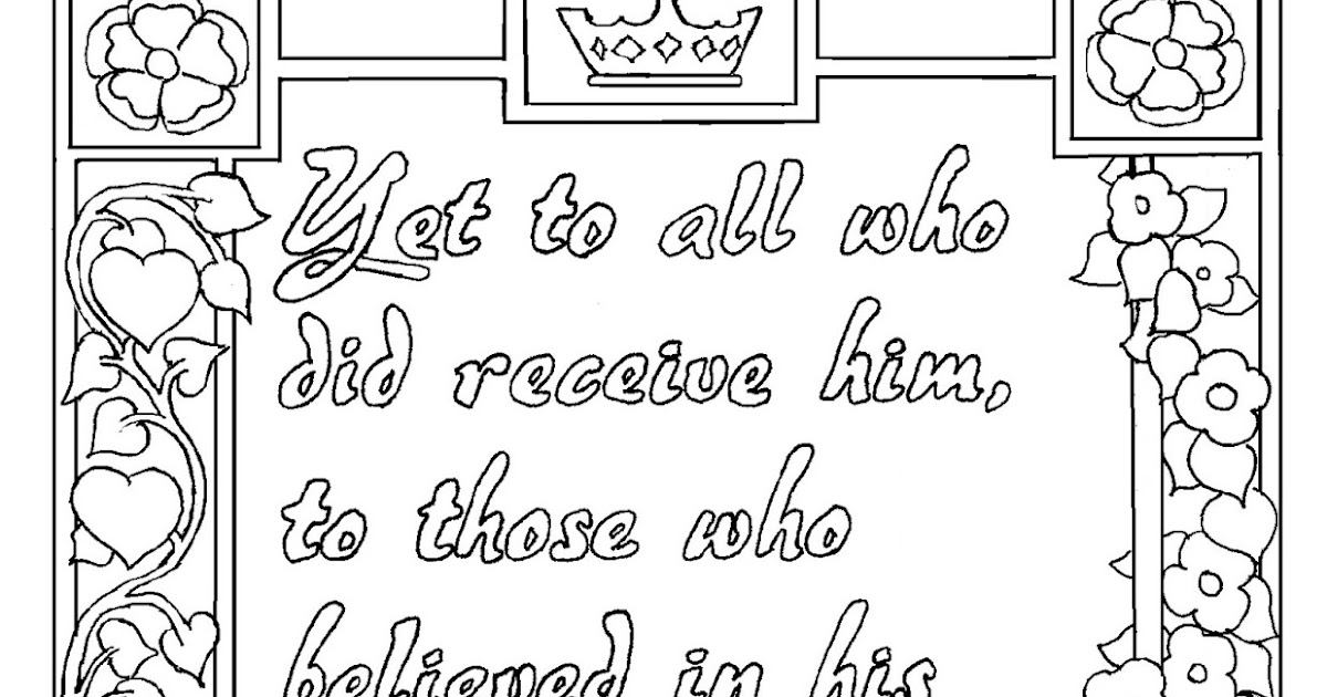Coloring Pages for Kids by Mr. Adron: John 1:12 Print and Color page