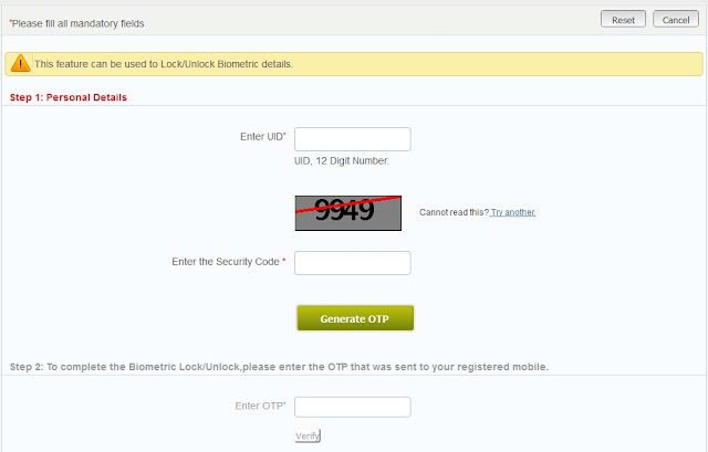 Lock Unlock Biometric Aadhaar Card