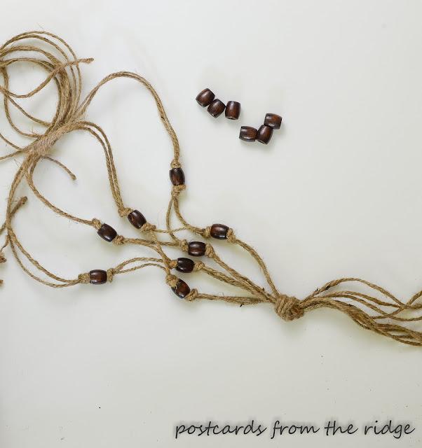 wood beads and twine macrame plant holder