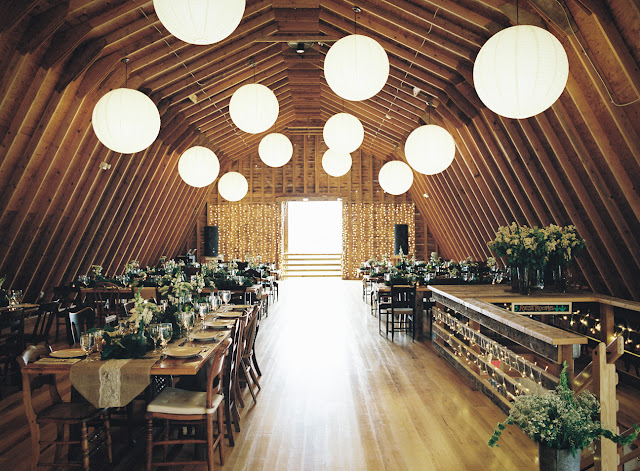 Vintage white and green decor for the barn reception at Jonna and Heather's Inn at West Settlement Wedding by Karen Hill Photography