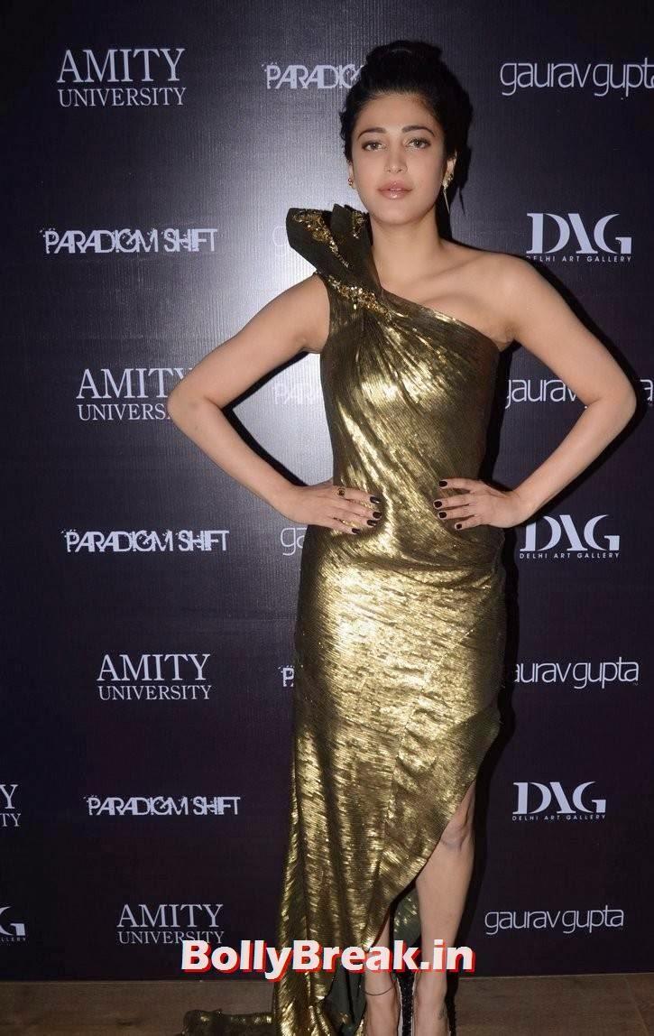 Telugu Actress Shruti Hasaan, Shruti Hasaan in Hot Golden Dress without sleeve at Store Launch
