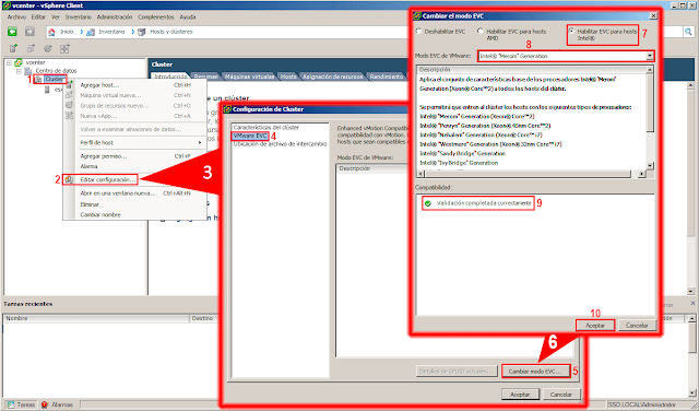 VMware Enhanced vMotion Compatibility: Activar EVC.
