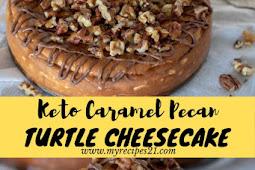 Keto Caramel Pecan Turtle Cheesecake