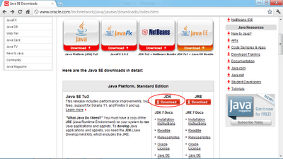 Browse to Oracle download page