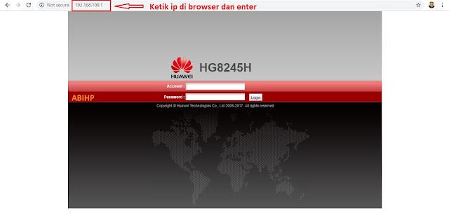 Diminta untuk memasukkan akun dan password di modem fiwi indihom.