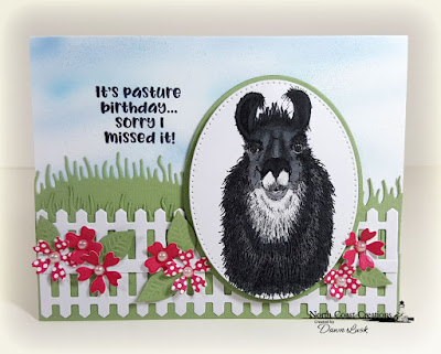 North Coast Creations Stamp Set: Llama Tell You, ODBD Paper Collection:  Boho Bolds, ODBD Custom Dies: Grass Hill, Grass Lawn, Bitty Blossoms, Fence, Pierced Ovals, Ovals