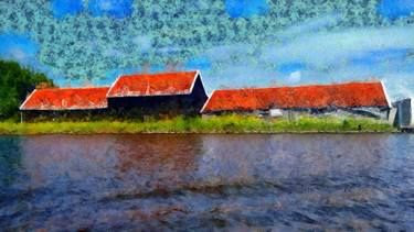 Sloping red roofs - Prints on Saatchiart