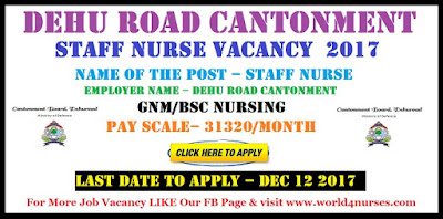 Dehu Road Cantonment Staff Nurse Vacancy  2017