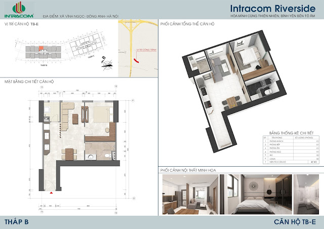 Thiết kế căn hộ 46m2 Intracom Riverside