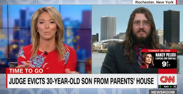 Brooke Baldwin interviews 30 year old upstate NY slacker--who won't leave his parents' house