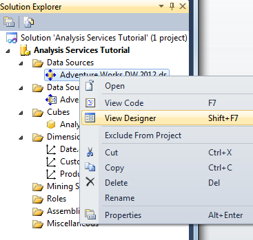 Setup SQL Server 2012 and Adventure Works cube with Visual