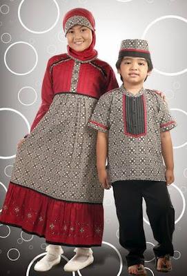 model baju batik muslim anak elegan