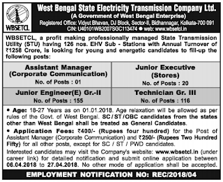 WB State Electricity Transmission Company Limited WBSETCL Junior Engineer (Elect), Junior Executive Stores, Technician Grade III Recruitment 2018 292 Govt Jobs Apply Online