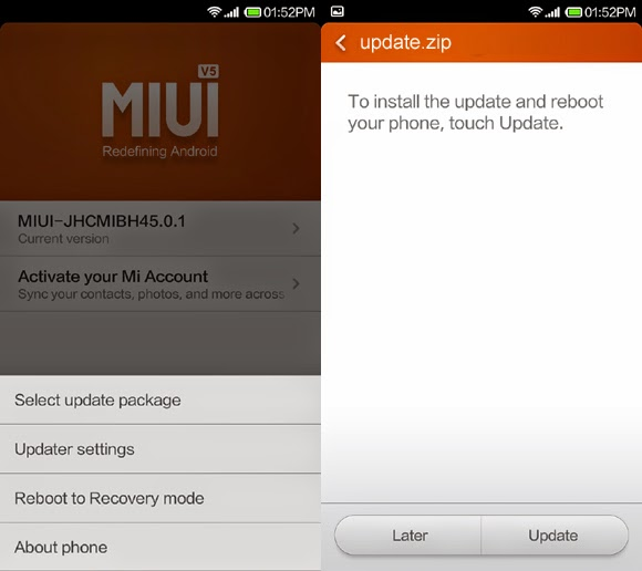 select update package to root xiaomi redmi 1s