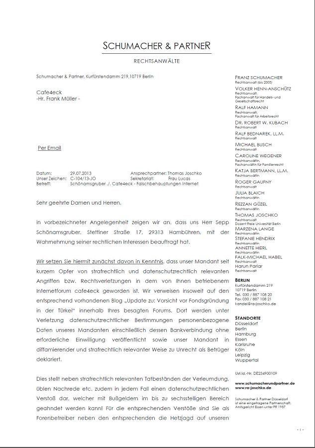 Mitverantwortlicher und Geldeinsammler für Vorkostenbetrug Fondsgründung in der Türkei, Sepp Schönamsgruber versucht durch Anwalt Löschaktionen durchzusetzen!