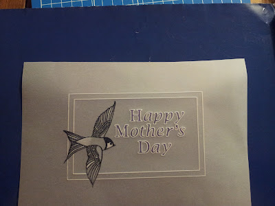 Parchment with Happy Mothers Day, coloured, and stamped house martin with white work