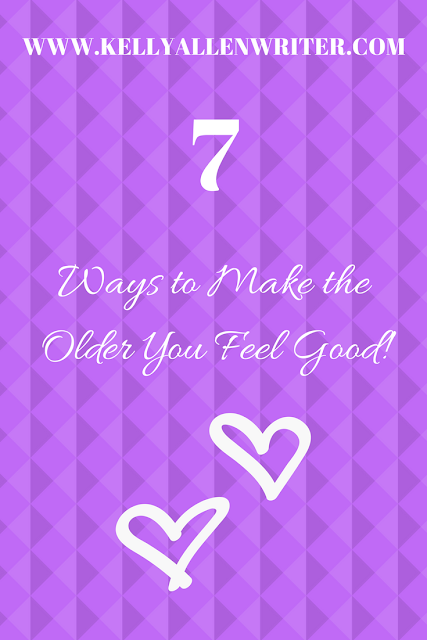 A purple background with the title '7 Ways to Make the Older You Feel Good!' in white writing with white heart outlines.