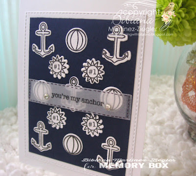 marine background with stamps front