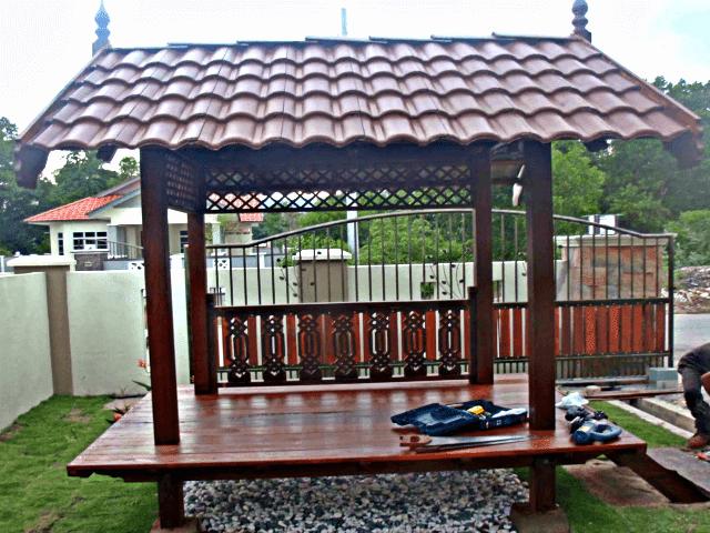 Gazebo taman depan kayu jati