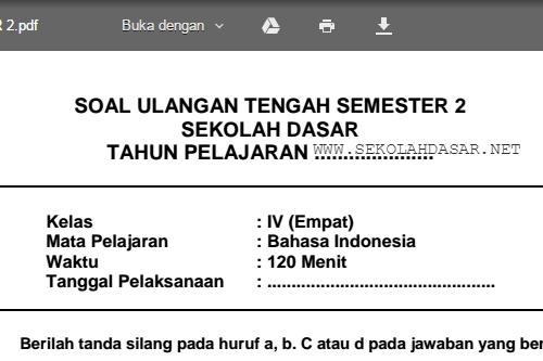 Soal Uts Bahasa Indonesia Kelas 4 Sd Semester 2