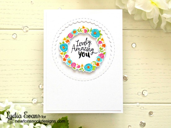 Lovely, Amazing You Card by Lydia Evans | Happy Little Thoughts Stamp & Die set by Newton's Nook Designs #newtonsnook