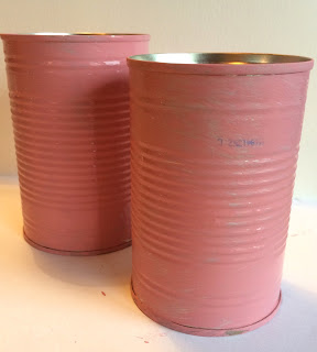 Tins painted with pink chalk paint