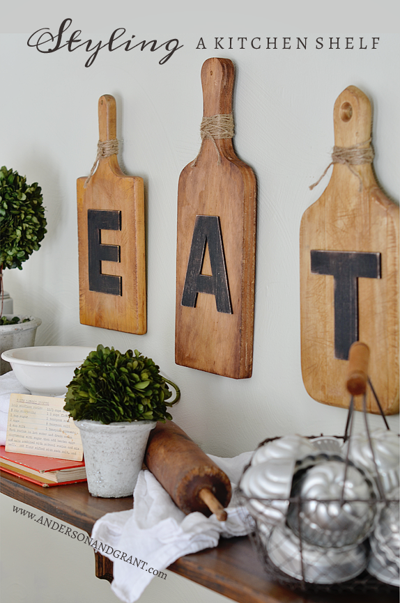 How to Style a Kitchen Shelf with vintage finds | www.andersonandgrant.com
