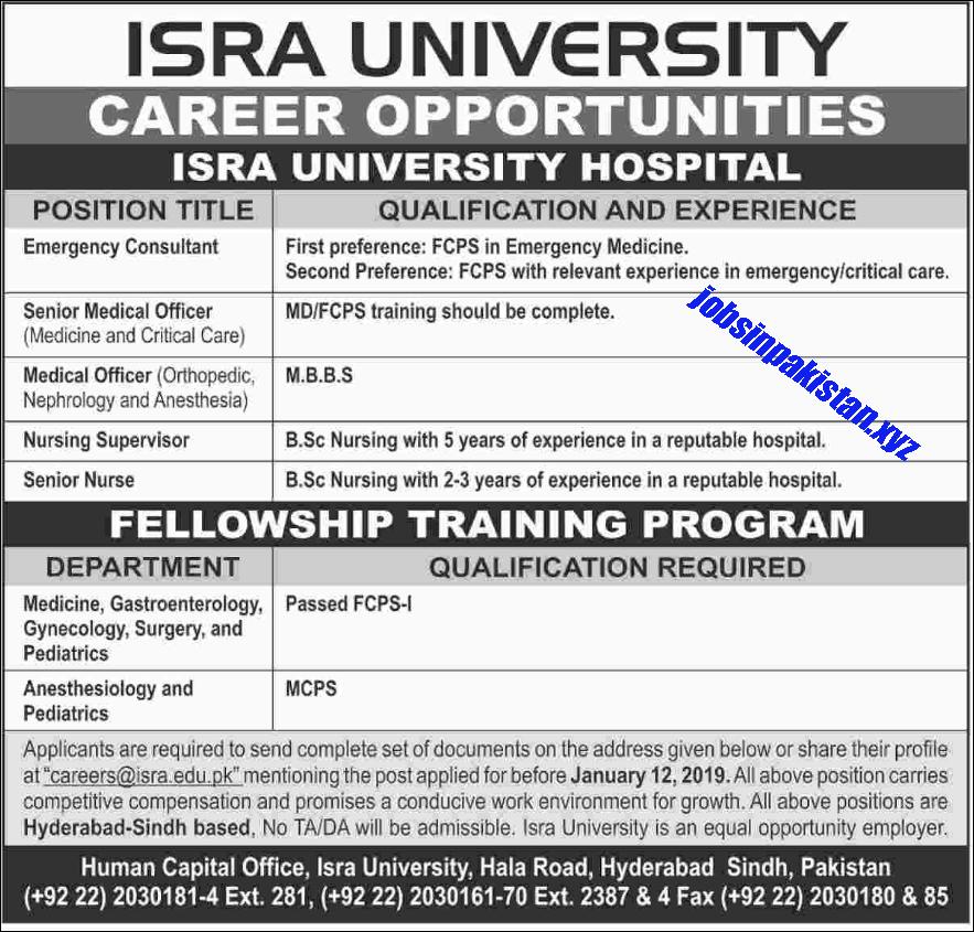 Advertisement for ISRA University Jobs December 2018