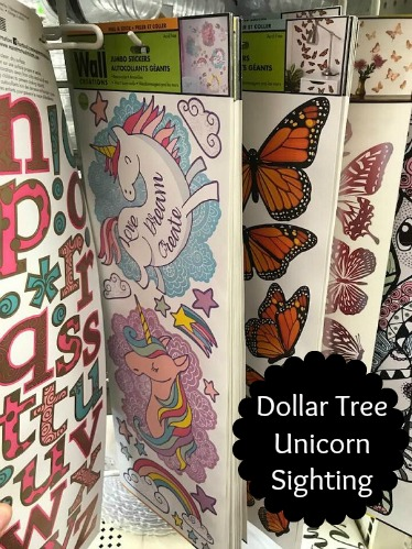 92e979ab4f8 I found these adorable unicorn decals at Dollar Tree!! There are over 30+  wall decals included on the sheet with unicorns on the front and back  (shown in ...