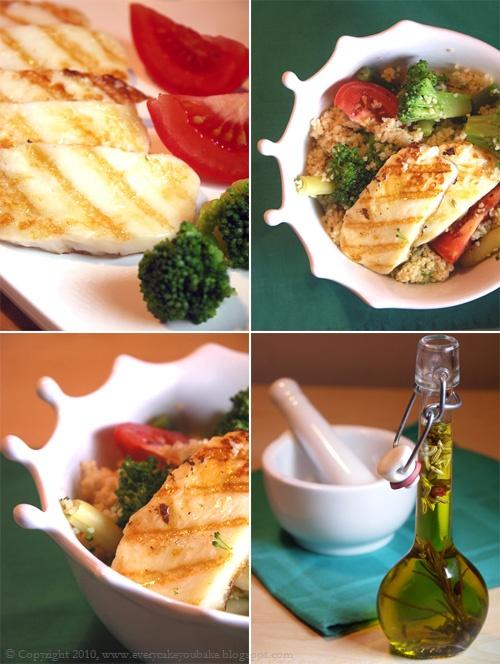 grillowany ser halloumi z korzennym kuskusem i warzywami