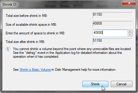 Shrink volume harddisk Windows 7