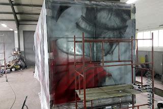 Malowanie grafiki na tirze, aerografia samochodowa, malowanie samochodów ciężarowych, airbrush truck