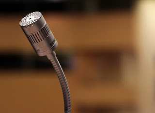 A microphone as you would find attached to a speaking lectern.