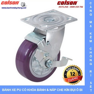 Bánh xe PU Colson có nắp che bụi chịu lực cho xe đẩy vải sợi tại Nhơn Trạch www.banhxedayhang.net