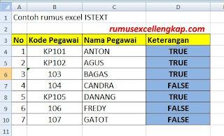 contoh data rumus ISTEXT