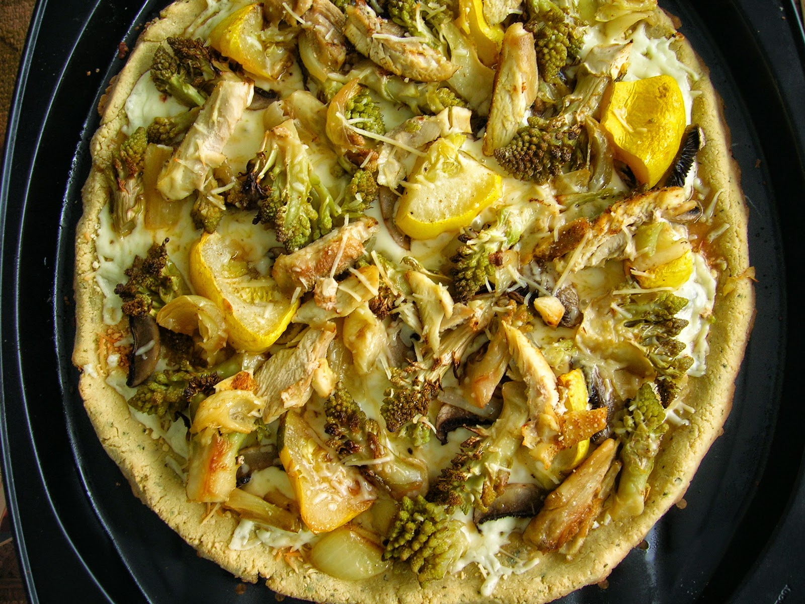 Low Carb Pizza Crust with Chicken & Roasted Veggies, gluten free, yeast free, xanthan free