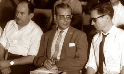 Los ajedrecistas Joan Torquet, Antonio Medina y José Luis Sánchez Fernández, Barcelona 1964