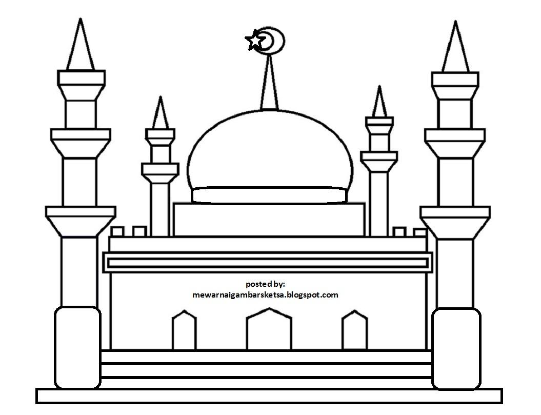 Mewarnai Gambar Mewarnai Gambar Sketsa Masjid 14