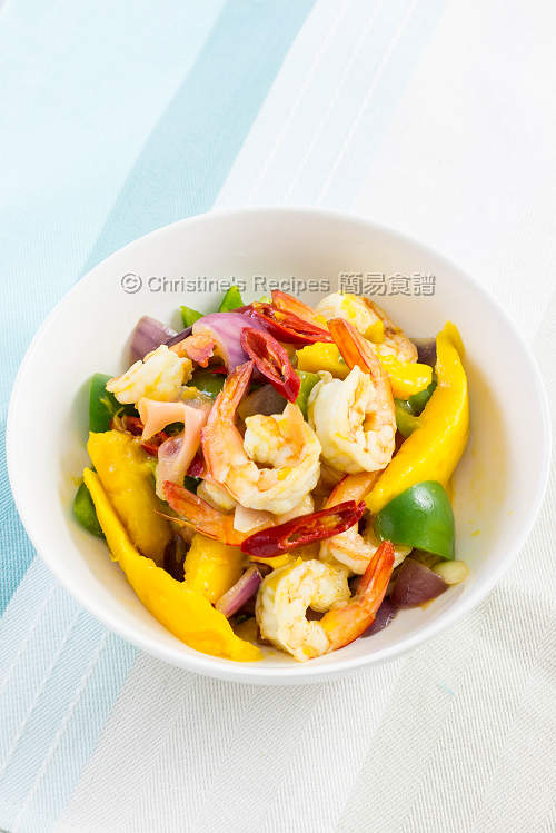 Stir Fried Prawns with Mango