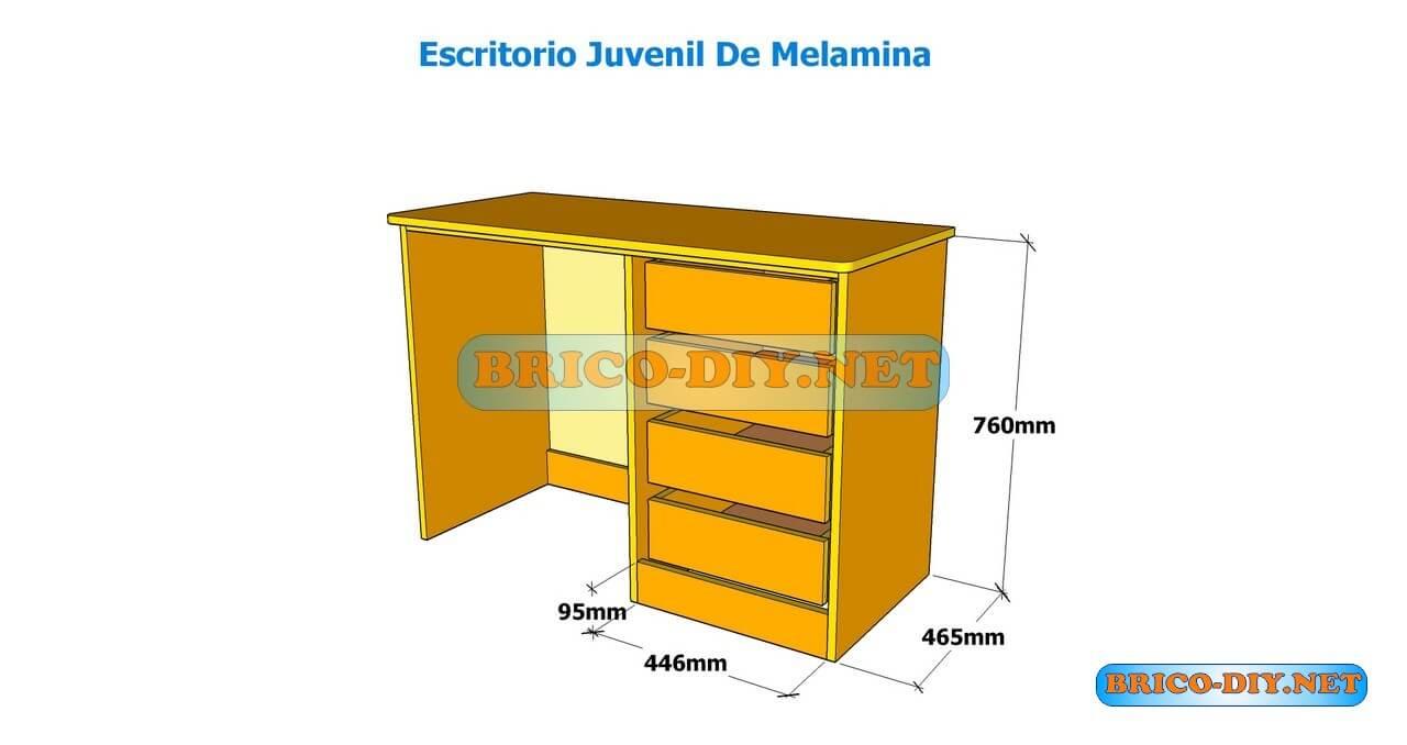 Como hacer un escritorio juvenil planos con medidas para for Planos de escritorios