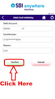 how to block stolen sbi atm card