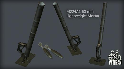 Arma3用Veteran MODのM224A1 60mm 軽迫撃砲