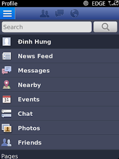 Giao diện facebook cho blackberry