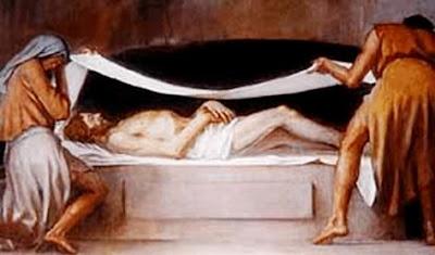 Ilustración en plena Sepultura de Jesús para niños