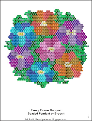 Free brick stitch seed bead pendant pattern labeled color chart.