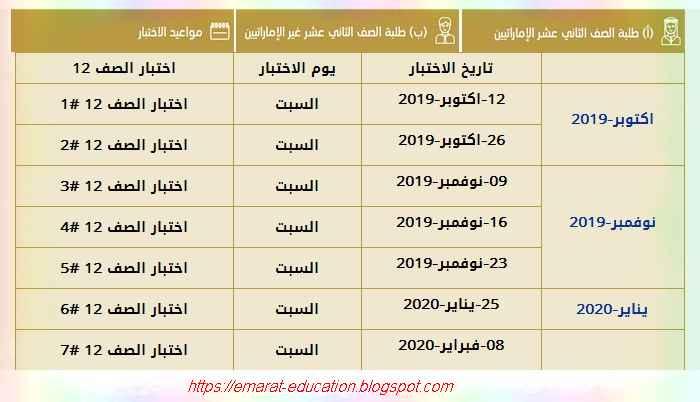 مواعيد اختبارات امتحان الامسات emsat لطلاب الصف الثاني عشر للعام الدراسى 2019-2020