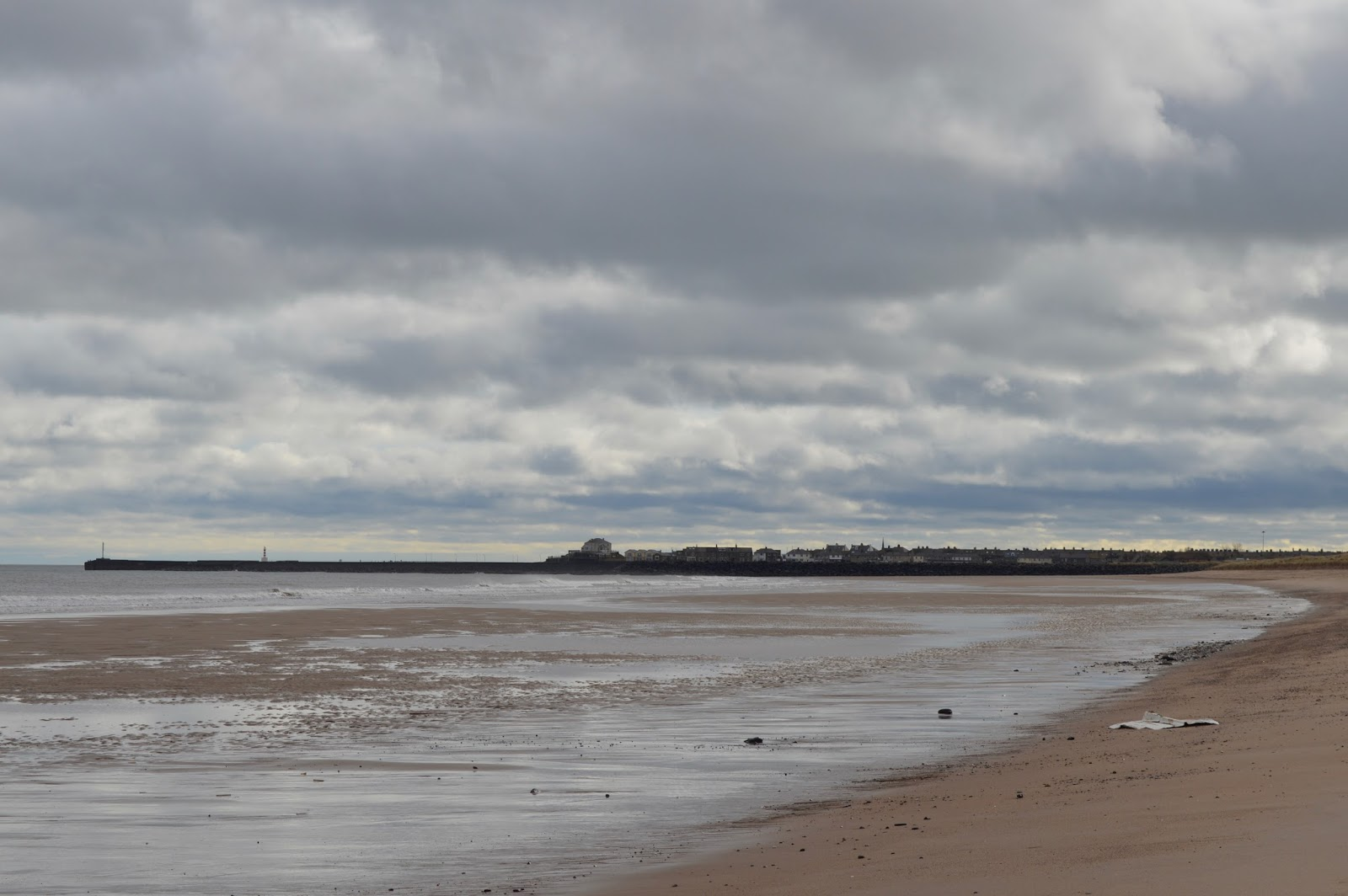 Warkworth beach - view towards Amble harbour, Northumberland