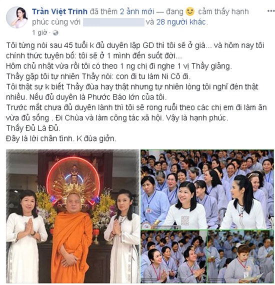 'Người đẹp Tây Đô' Việt Trinh sẽ ở một mình đến hết đời -1