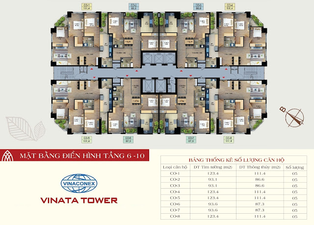 mặt bằng vinata tower tầng 6-10